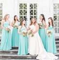 Mint Green Strapless Floor Length Ruched Top Chiffon Bridesmaid Dress
