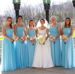 Light Blue Sleeveless Ruched Chiffon Long Bridesmaid Dress With Straps