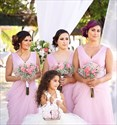 Pink A-Line V-Neck Floor-Length Chiffon Bridesmaid Dress With Ruching