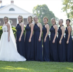 Navy Blue Halter Chiffon Bridesmaid Dress With Flower Embellishment