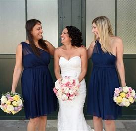 Knee Length Navy Blue One Shoulder Chiffon A-Line Bridesmaid Dress