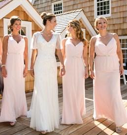 Pearl Pink Spaghetti Strap V-Neck Floor Length Chiffon Bridesmaid Gown