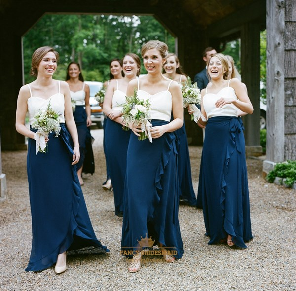 Navy Blue And White Spaghetti Strap Long Bridesmaid Dress With Ruffles