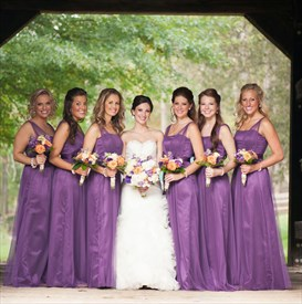 Purple Strapless Floor Length Bridesmaid Dress With Tulle Embellished