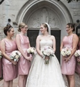 Simple Pink Knee Length Sleeveless Bridesmaid Dress With Ruched Waist