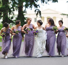 Purple One Shoulder Sweetheart Bridesmaid Dresses With Tulle Overlay