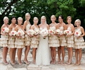 Knee Length Champagne Strapless Bridesmaid Dress With Ruffle Skirt