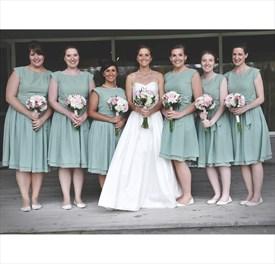 Simple Sage Green Cap Sleeve Chiffon Short Bridesmaid Dress With Sash