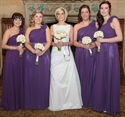 Purple One-Shoulder Long Chiffon Bridesmaid Dress With Ruffle Flower