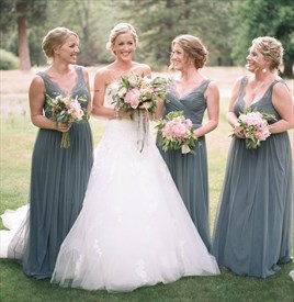 Gray V-Neck Floor-Length Chiffon Bridesmaid Dress With Lace Straps