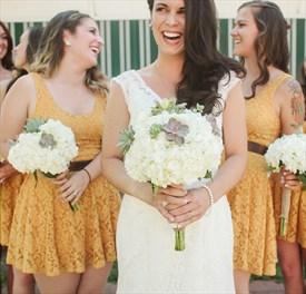 Cute Sunflower Yellow Sleeveless Lace Short Bridesmaid Dress With Belt