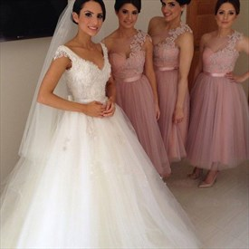 Pink Tea-Length Tulle One Shoulder Long Bridesmaid Dress With Flowers