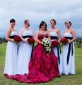 White Strapless Empire Waist Chiffon Bridesmaid Dress With Black Sash