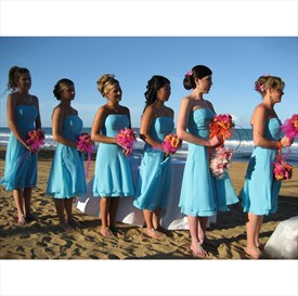 Lovely Sky Blue Strapless A-Line Chiffon Knee Length Bridesmaid Dress