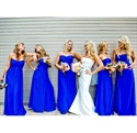 Royal Blue Strapless Empire Waist Floor-Length Chiffon Bridesmaid Gown
