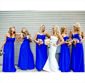Royal Blue Strapless Empire Waist Floor-Length Chiffon Bridesmaid Gown
