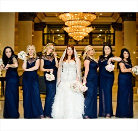 Navy Blue Cap Sleeve Long Bridesmaid Dress With Sheer Lace Neckline
