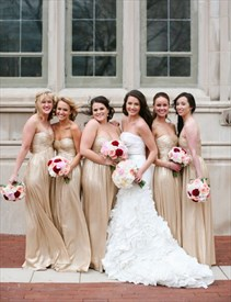 Simple Champagne Strapless Ruched Bodice Floor Length Bridesmaid Dress