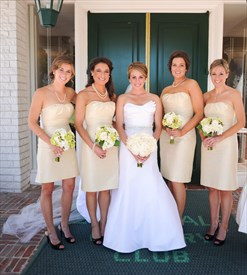 Simple Champagne Strapless Ruched Neckline Knee Length Bridesmaid Gown