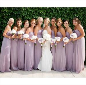 Lilac Strapless Chiffon Empire Waist Long Bridesmaid Dress With Flower