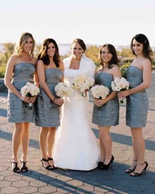Distinctive Knee Length Grey Strapless Backless Ruched Bridesmaid Gown