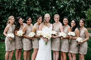 Simple Champagne Sleeveless Knee Length Lace Sheath Bridesmaid Dress