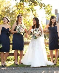 Navy Blue Strapless Chiffon Short Bridesmaid Dress With Embellishment