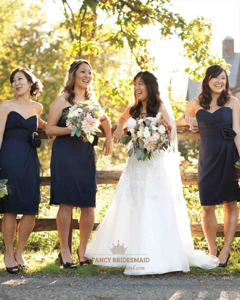 Navy Blue Strapless Chiffon Short Bridesmaid Dress With Embellishment