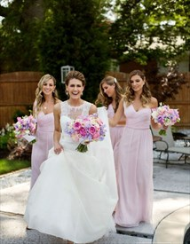 Light Pink One Shoulder Ruched Floor Length Chiffon Bridesmaid Dress