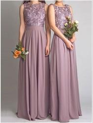 Elegant Sleeveless Lace Bodice Chiffon Bottom A-Line Bridesmaid Dress