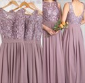 Elegant Sleeveless Lace Bodice Chiffon Bottom A-Line Bridesmaid Dress