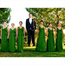 Kelly Green V-Neck Sleeveless Ruched Chiffon Bridesmaid Gown With Belt