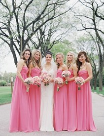 Strapless Empire Waist Backless Chiffon Floor Length Bridesmaid Dress