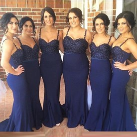 Royal Blue Spaghetti Strap Beaded Bodice Mermaid Long Bridesmaid Dress
