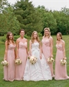 Pink Spaghetti Strap A Line Long Chiffon Bridesmaid Dress With Flower
