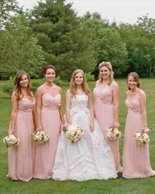 Pink Spaghetti Strap A Line Long Chiffon Bridesmaid Dress With Flower
