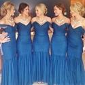Elegant Off The Shoulder Dropped Waist Tulle Mermaid Bridesmaid Dress