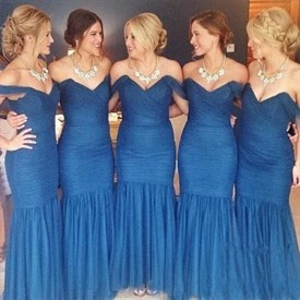 Elegant Off The Shoulder Dropped Waist Tulle Mermaid Bridesmaid Dress