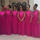 Fuchsia Lace Top Tulle Bottom A-Line Sleeveless Long Bridesmaid Dress