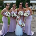 Simple Lilac Strapless Sweetheart Sheath Mermaid Long Bridesmaid Dress
