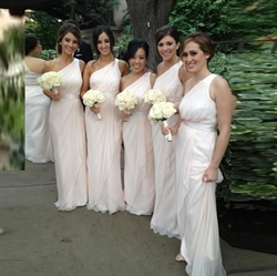 Pale Pink One Shoulder A Line Bridesmaid Dress With Cascading Detail