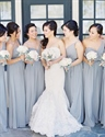 Light Grey One Shoulder Sweetheart Chiffon Bridesmaid Dress With Belt