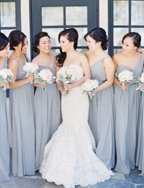 Light Grey One Shoulder Sweetheart Chiffon Bridesmaid Dress With Belt