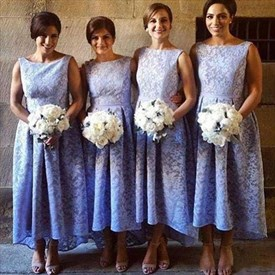 Lavender Sleeveless A-Line Ankle Length Lace High Low Bridesmaid Dress