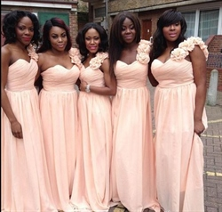 One Shoulder A-Line Chiffon Bridesmaid Dress With Flower Embellished