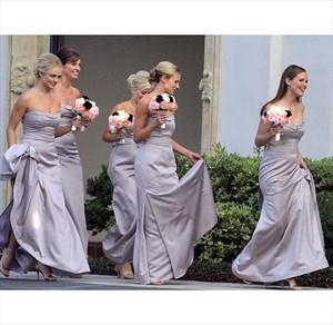 Elegant Strapless Satin Mermaid Long Bridesmaid Dress With Side Slit