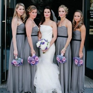 Grey Strapless Ruched Chiffon Long Bridesmaid Dress With Black Belt