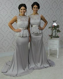 Grey Sleeveless Lace Top Peplum Mermaid Bridesmaid Dress With Sash
