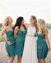 Teal Spaghetti Strap Ruched Top Chiffon Knee Length Bridesmaid Dress