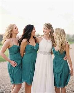 Teal Spaghetti Strap Ruched Top Chiffon Knee Length Bridesmaid Dress